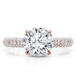 Two-Tone Pave Engagement Ring In 18ct Rose & White Gold