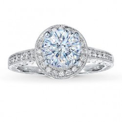 Honeymoon Diamond Halo Engagement Ring