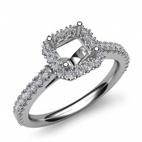 French Asscher Cut Pave Setting Round Diamond Engagement Semi Mount Ring