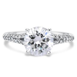 Classic Pave Solitaire Engagement Ring
